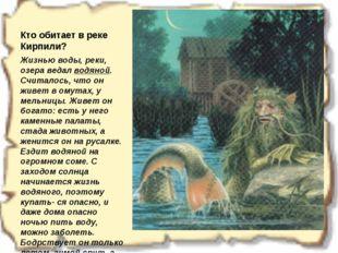 Кто обитает в реке Кирпили? Жизнью воды, реки, озера ведал водяной. Считалось