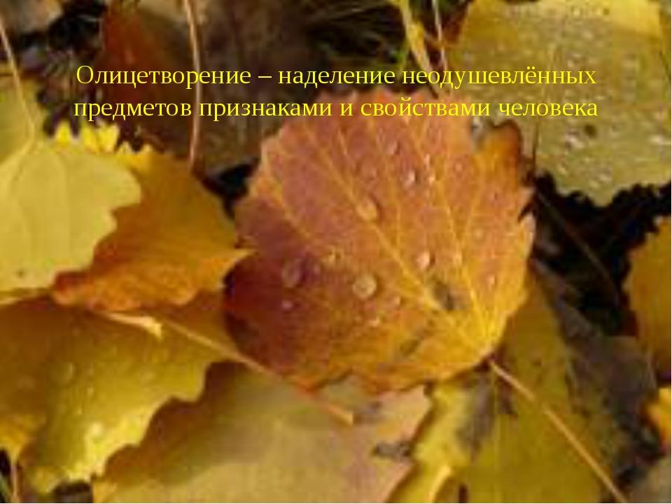 Олицетворение – наделение неодушевлённых предметов признаками и свойствами че...