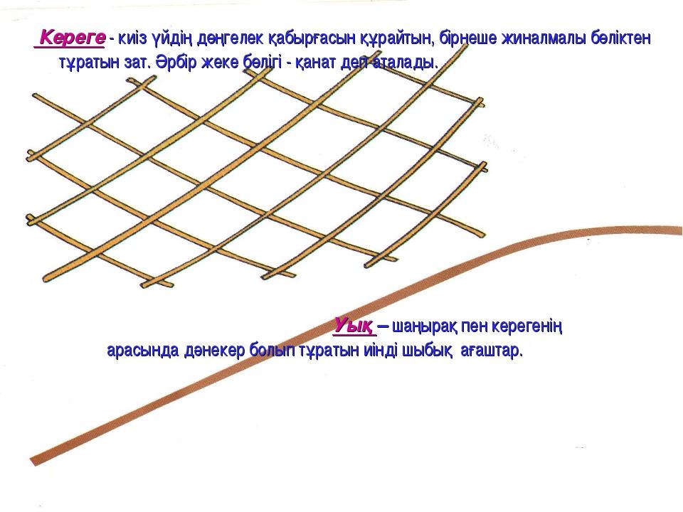 Кереге - киіз үйдің дөңгелек қабырғасын құрайтын, бірнеше жиналмалы бөліктен...
