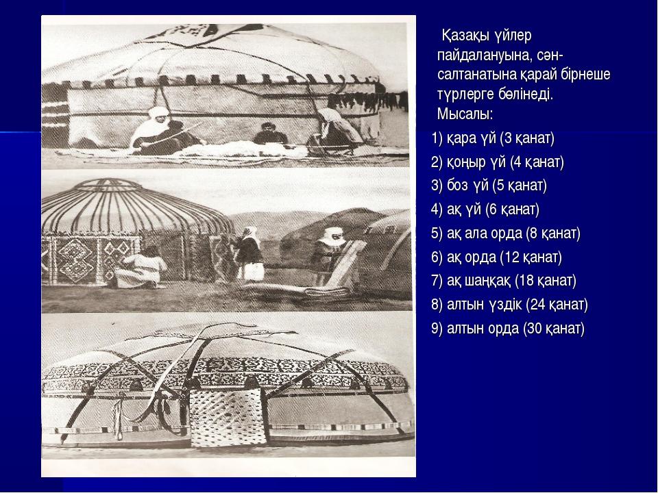 Қазақы үйлер пайдалануына, сән-салтанатына қарай бірнеше түрлерге бөлінеді....