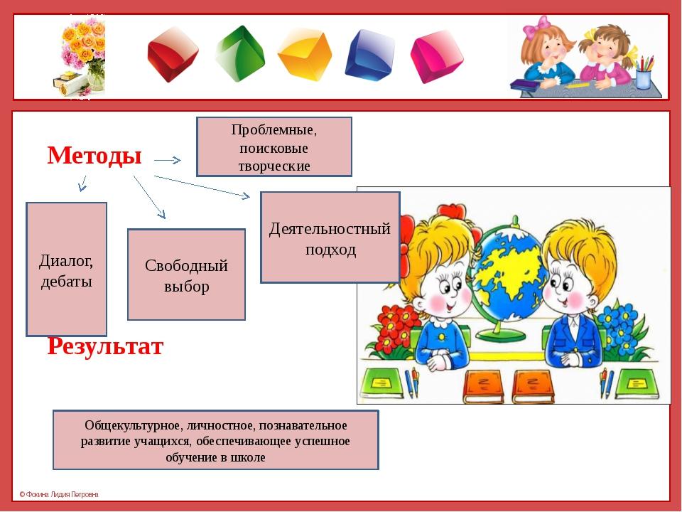 Методы Результат Проблемные, поисковые творческие Деятельностный подход Своб...