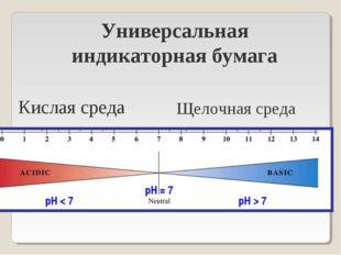рН < 7 рН = 7 рН > 7 Универсальная индикаторная бумага Кислая среда Щелочная