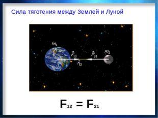 Сила тяготения между Землей и Луной F12 = F21