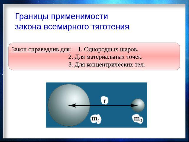 Границы применимости закона всемирного тяготения Закон справедлив для:1. Одн...