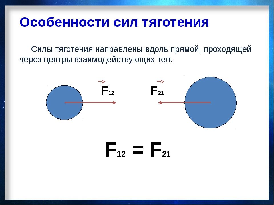 Особенности сил тяготения Силы тяготения направлены вдоль прямой, проходящей...