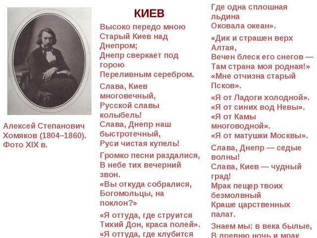 Алексей Степанович Хомяков (1804–1860). Фото XIX в. КИЕВ Высоко передо мною С...