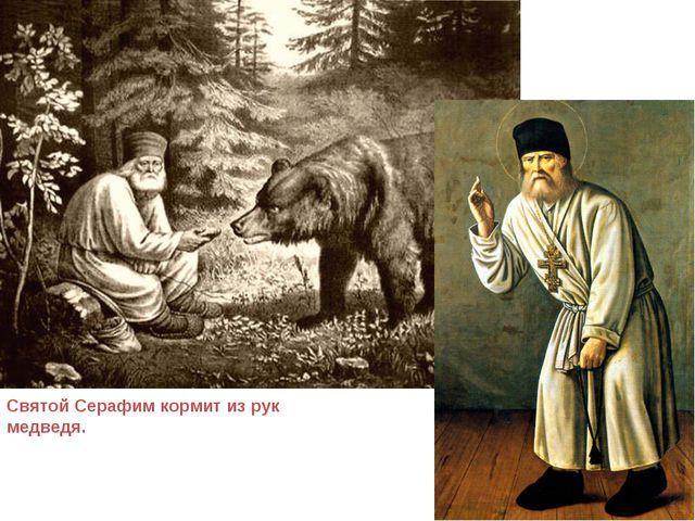 Святой Серафим кормит из рук медведя.