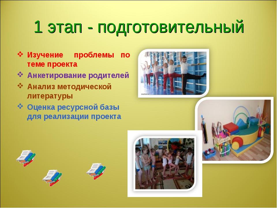 1 этап - подготовительный Изучение проблемы по теме проекта Анкетирование род...