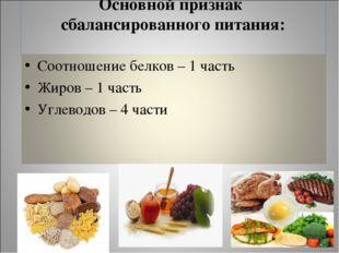 Основной признак сбалансированного питания: