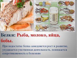 Белки: Рыба, молоко, яйца, бобы. При недостатке белка замедляется рост и разв