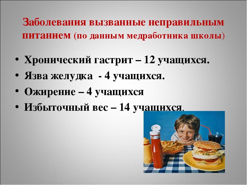 Заболевания вызванные неправильным питанием (по данным медработника школы) Хр...