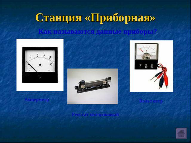 Станция «Приборная» Как называются данные приборы? Амперметр Реостат ползунко...