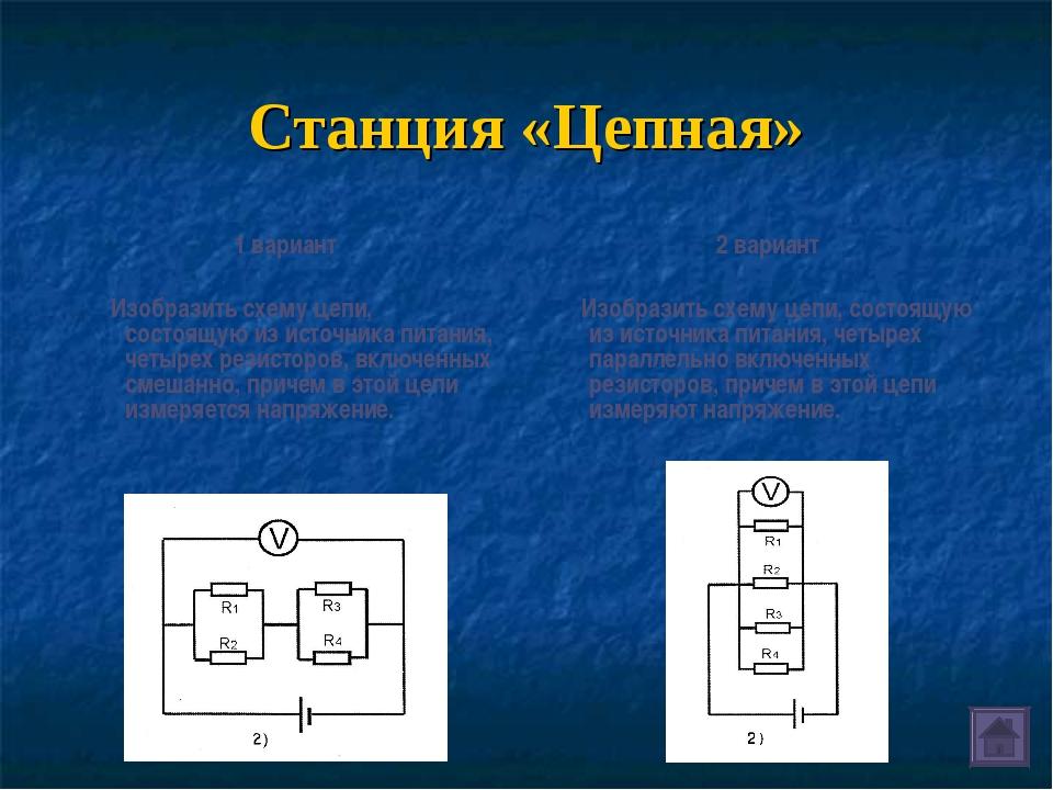 Станция «Цепная» 1 вариант Изобразить схему цепи, состоящую из источника пита...