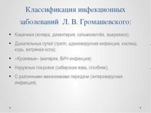 Классификация инфекционных заболеваний  Л. В. Громашевского: Кишечная (холер