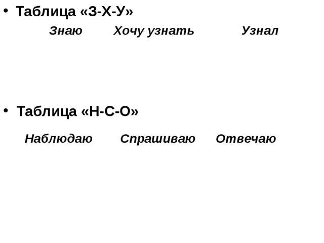 Таблица «З-Х-У» Таблица «Н-С-О»