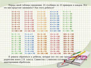 Передо мной таблица умножения: 10 столбиков по 10 примеров в каждом. Все это