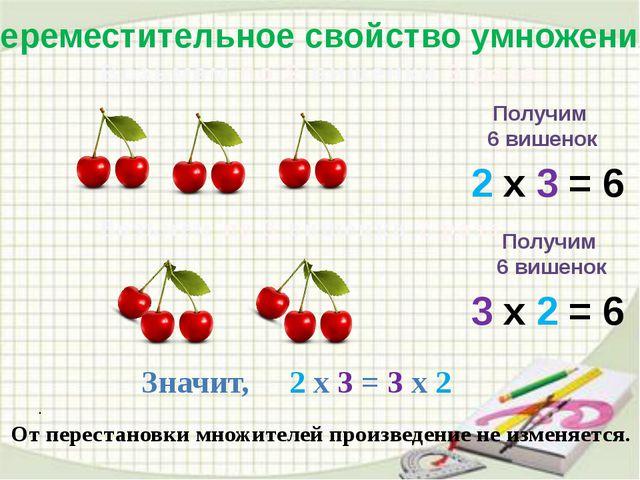 . . Переместительное свойство умножения Возьмём по 2 вишенки 3 раза 2 х 3 =...