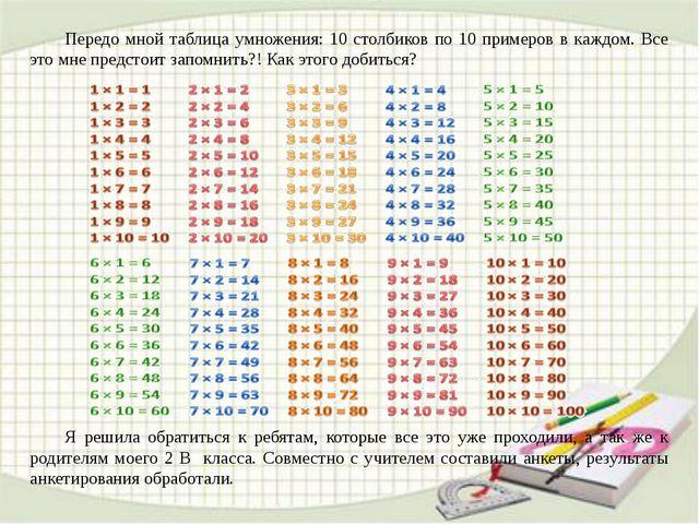 Передо мной таблица умножения: 10 столбиков по 10 примеров в каждом. Все это...