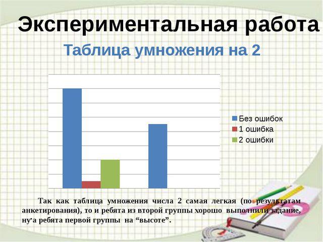 . Экспериментальная работа Таблица умножения на 2 Так как таблица умножени...