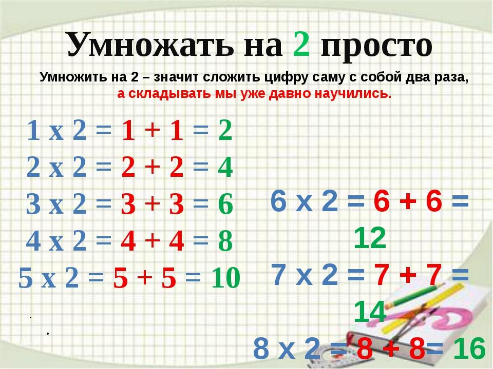 . . Умножать на 2 просто Умножить на 2 – значит сложить цифру саму с собой...