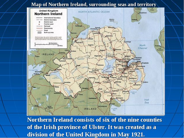 Map of Northern Ireland, surrounding seas and territory Belfast Northern Irel...