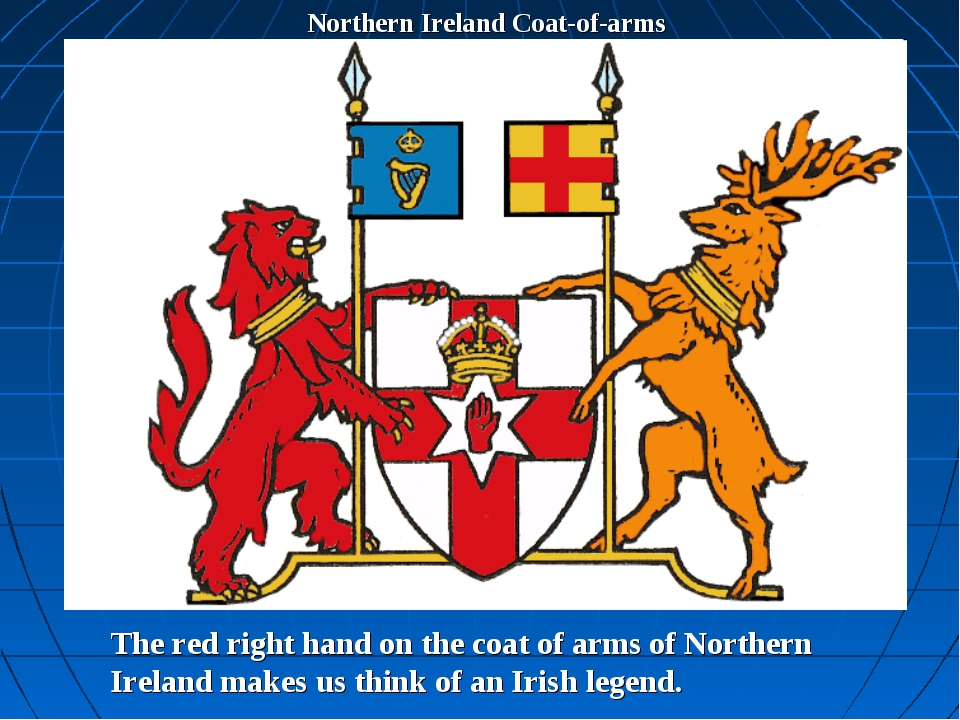 Northern Ireland Coat-of-arms The red right hand on the coat of arms of North...