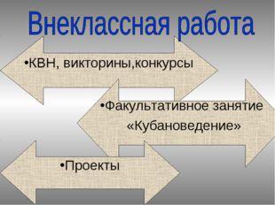 КВН, викторины,конкурсы Факультативное занятие «Кубановедение» Проекты