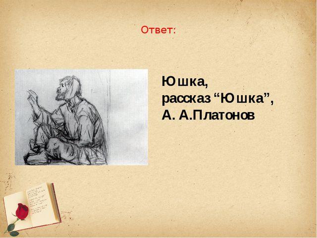 """Ответ: Юшка, рассказ """"Юшка"""", А. А.Платонов"""