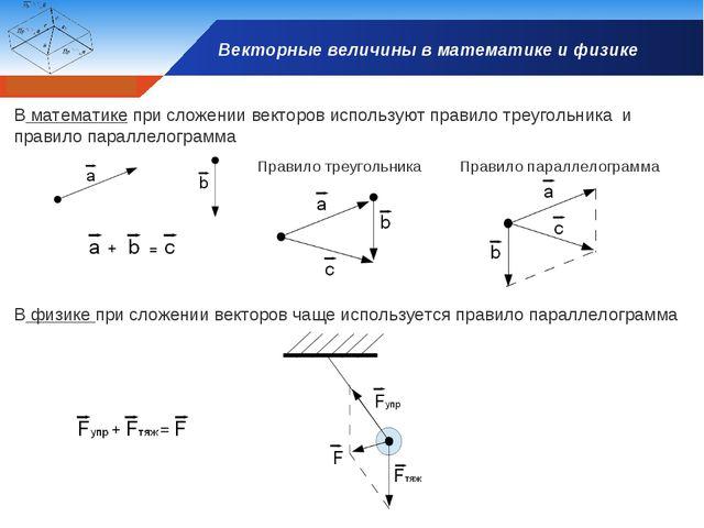 Векторные величины в математике и физике В математике при сложении векторов и...