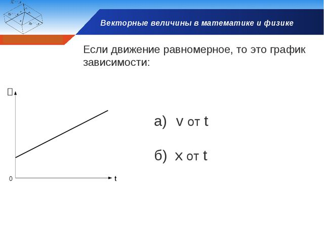 Векторные величины в математике и физике Если движение равномерное, то это гр...
