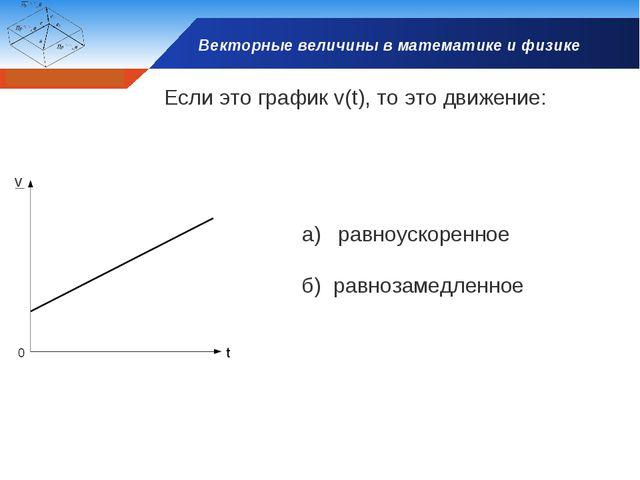 Векторные величины в математике и физике Если это график v(t), то это движени...