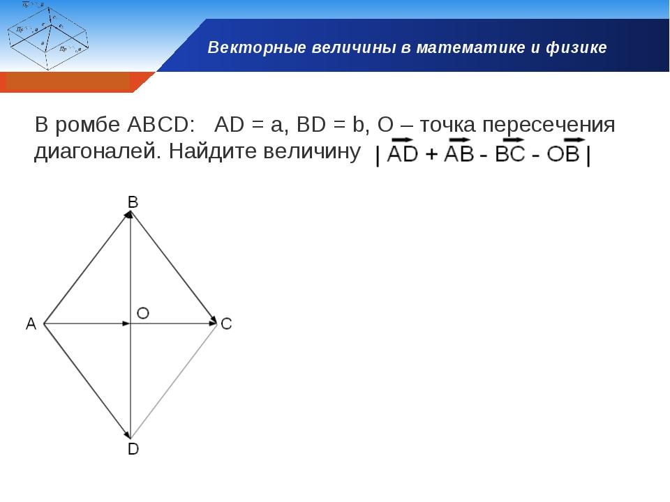 Векторные величины в математике и физике В ромбе АВСD: AD = a, BD = b, O – то...