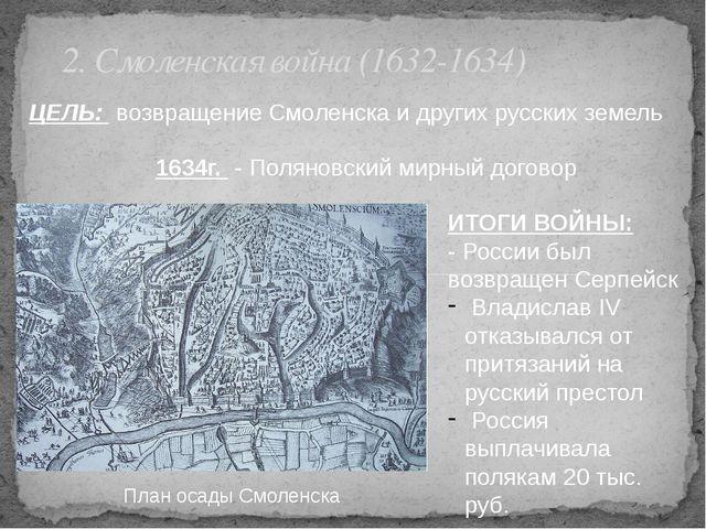 2. Смоленская война (1632-1634) ЦЕЛЬ: возвращение Смоленска и других русских...