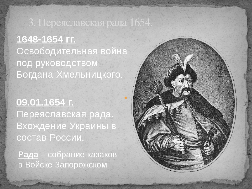 3. Переяславская рада 1654. 1648-1654 гг. – Освободительная война под руковод...