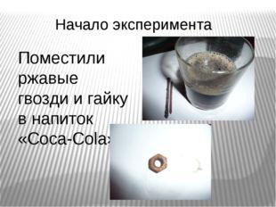 Начало эксперимента Поместили ржавые гвозди и гайку в напиток «Coca-Cola»