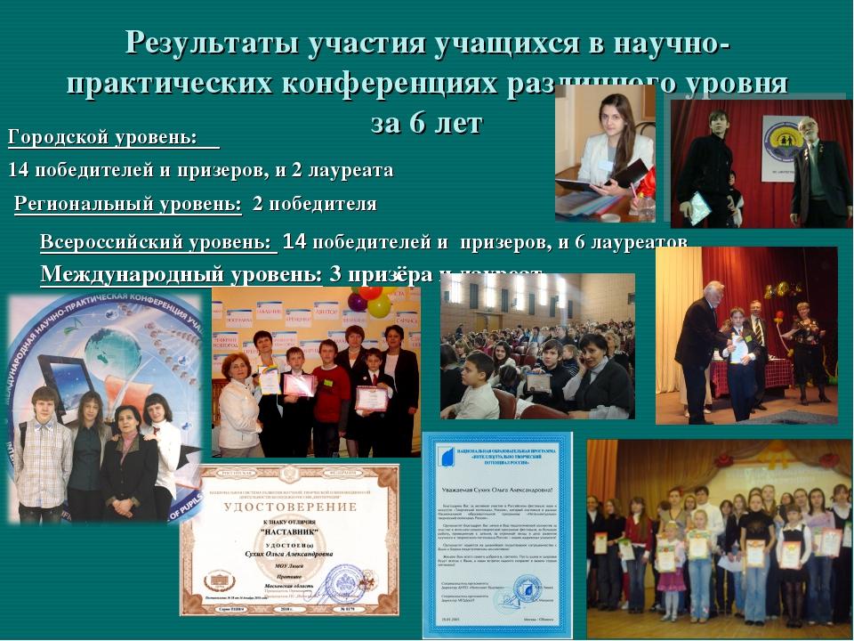 Результаты участия учащихся в научно-практических конференциях различного уро...
