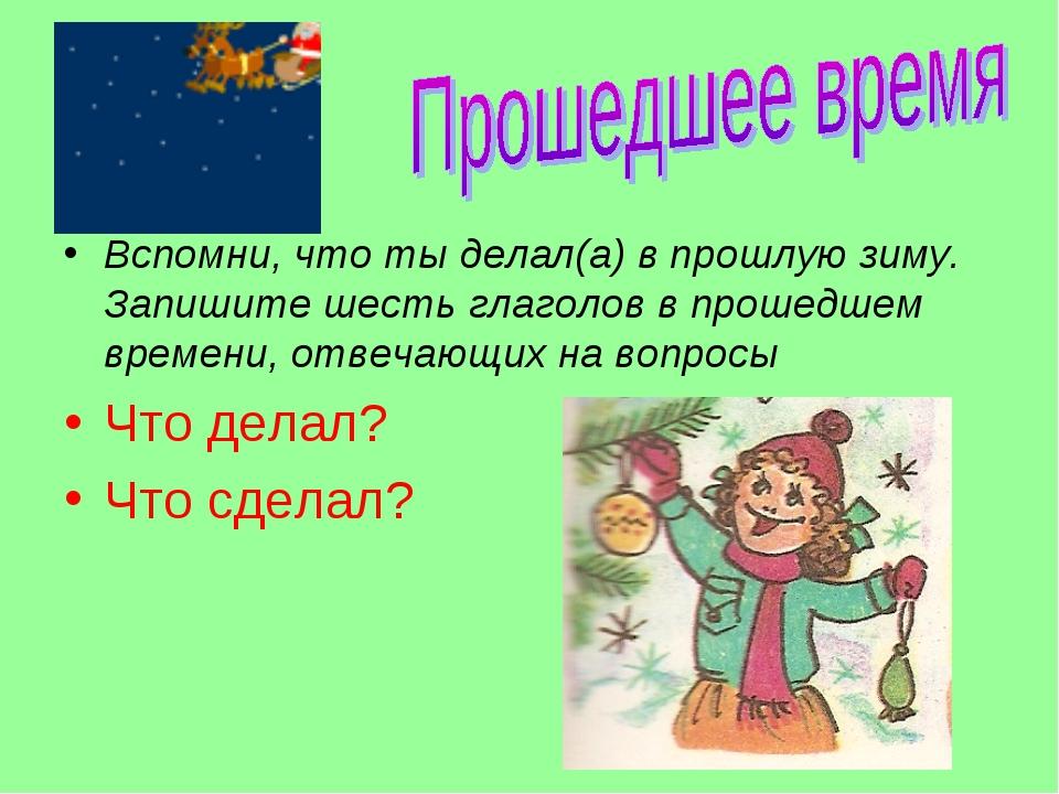 Вспомни, что ты делал(а) в прошлую зиму. Запишите шесть глаголов в прошедшем...