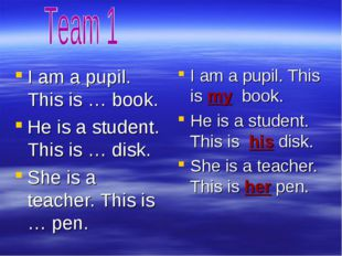 I am a pupil. This is … book. He is a student. This is … disk. She is a teach