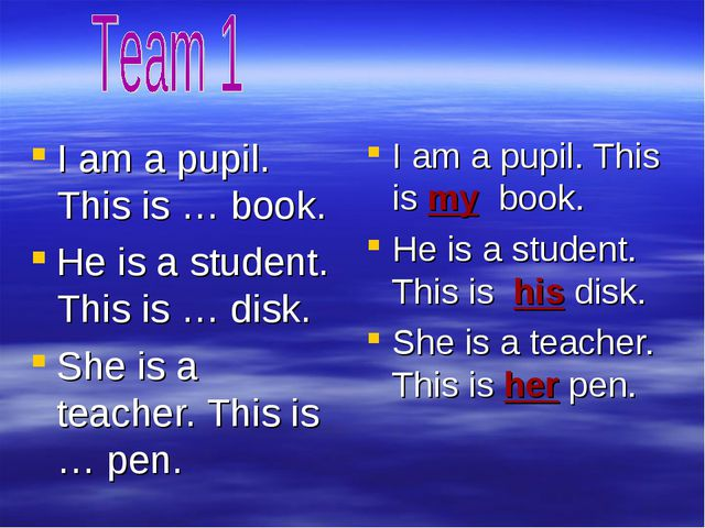 I am a pupil. This is … book. He is a student. This is … disk. She is a teach...