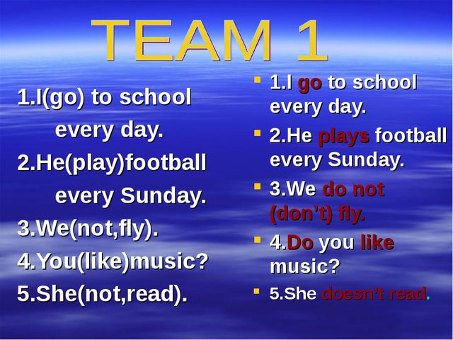 1.I(go) to school every day. 2.He(play)football every Sunday. 3.We(not,fly)....