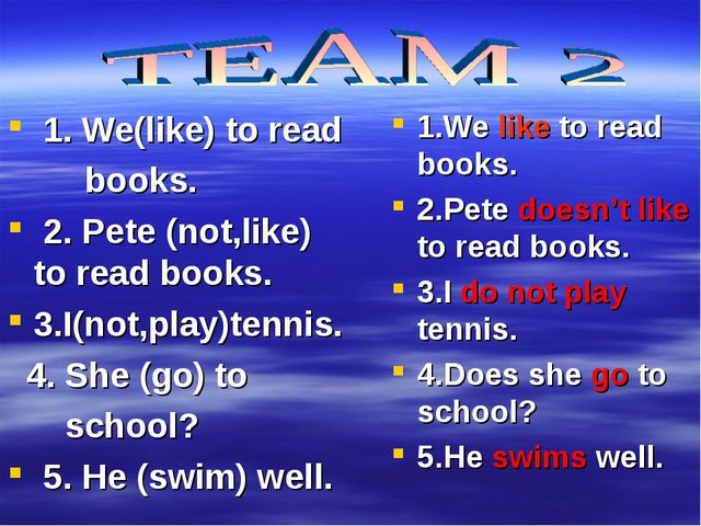 1. We(like) to read books. 2. Pete (not,like) to read books. 3.I(not,play)te...