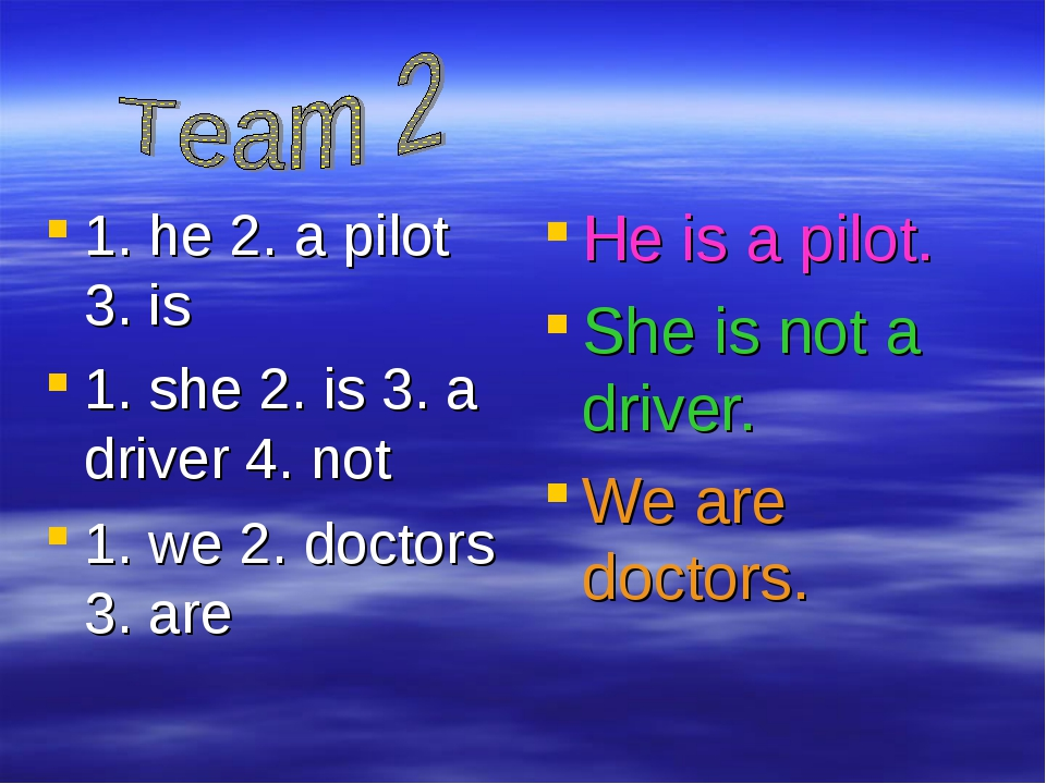 1. he 2. a pilot 3. is 1. she 2. is 3. a driver 4. not 1. we 2. doctors 3. ar...