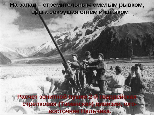 Расчет зенитной пушки 2-й гвардейская стрелковая (Таманская) дивизии, юго-вос...