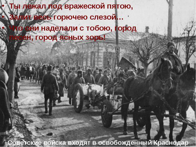 Советские войска входят в освобожденный Краснодар Ты лежал под вражеской пят...