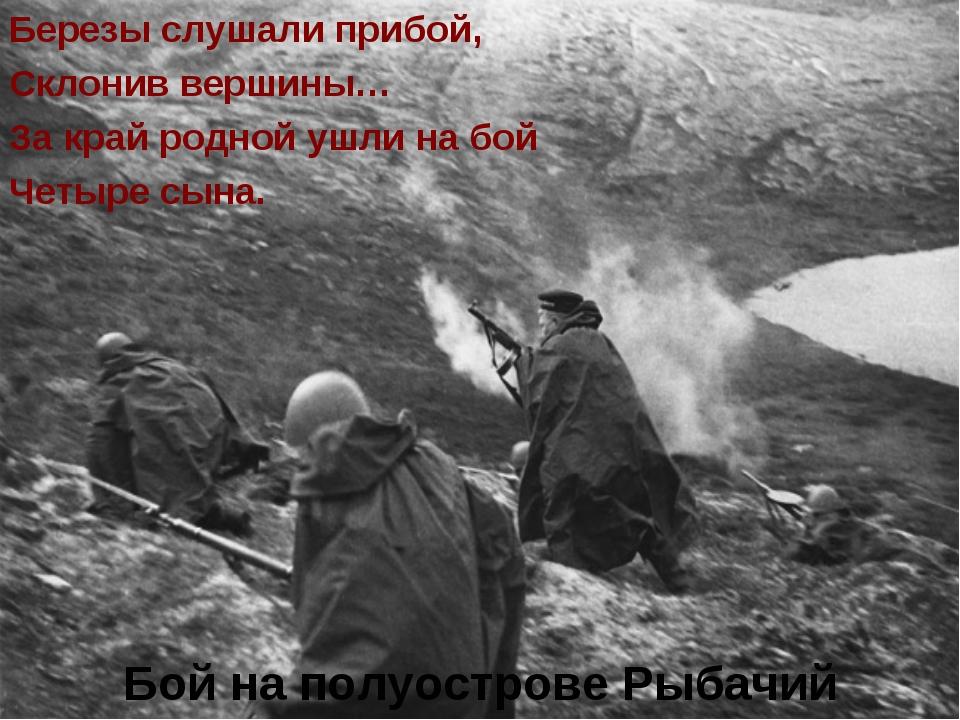 Бой на полуострове Рыбачий Березы слушали прибой, Склонив вершины… За край р...