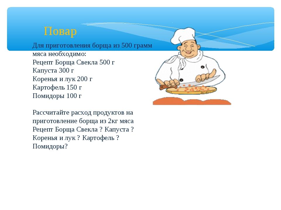 Повар Для приготовления борща из 500 грамм мяса необходимо: Рецепт Борща Свек...