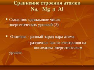Сравнение строения атомов Na, Mg и Al Сходство: одинаковое число энергетическ