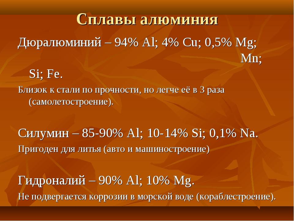 Сплавы алюминия Дюралюминий – 94% Al; 4% Cu; 0,5% Mg;  Mn; Si; Fe. Близок...