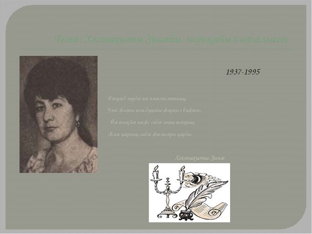 Темӕ: Хостыхъоты Зинӕйы лирикӕйыл афӕлгӕст 1937-1995 Рӕсугъд зӕрдӕ нӕ амӕлы,з...
