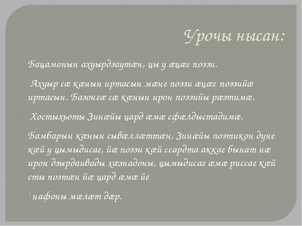 Урочы нысан: Бацамонын ахуырдзаутæн, цы у ӕцӕг поэзи. Ахуыр сæ кæнын иртасын...